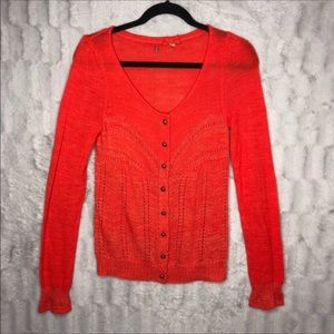 Anthropologie Knitted & Knotted Orange Cardigan